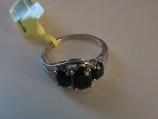 Midnight Blue Sapphire Ring Size 5.25 in Sterling Silver