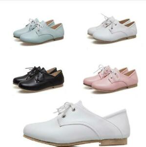 Retro Women British Style Round Toe Flat Heel Lace Up Oxford Casual Brogue Shoes