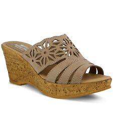 Spring Step Dora Women's Beige Leather Platform Slide Sandal Euro 39, US 8.5