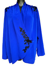 Victoria's Secret Royal Blue Wrap Robe One Button Draped Embroidered M Medium