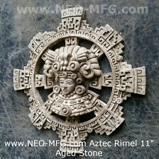 "History Aztec Maya Artifact Carved Rimel Sun Stone Sculpture Statue 11"""