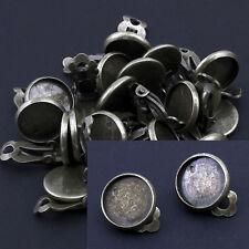 20 orecchini per cabochon 12mm Bronzo colore Ohrklemme pezzo grezzo-p00664x4