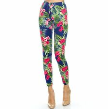 Women's Tropical Floral Printed Leggings Buttery Soft Peach Skin One Size 0-12
