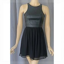 3ee508bc8ad6f2 BCBG Generation Women s Black Faux Leather Chiffon Skater Party Dress Size  ...
