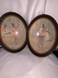 Vintage ballerina pictures framed With Bubble Glass