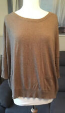 Brown Thin Knit Jumper Size M 3/4 Sleeve