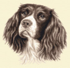 LIVER SPRINGER SPANIEL dog, pup, Full counted cross stitch kit + all materials