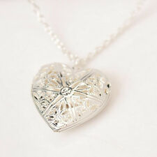 Fashion Women Lady Charm Silver Crystal Choker Heart Chain Pendant Necklace