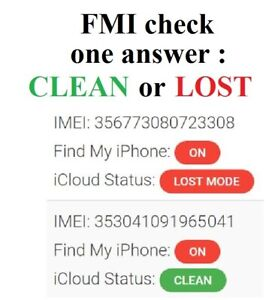 Check FMI Find My Iphone (CLEAN or LOST) for iCloud / iPhone / iPad Apple Watch