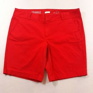 J.Crew Frankie Shorts Womens Size 12 Red Casual Flat Front Stretch