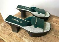 Vintage Prada Green Fringe Heels Shoes Size 36 (US 6)