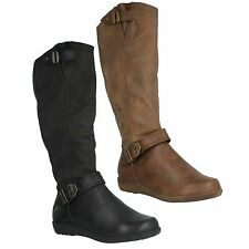F50330 LADIES SPOT ON HIGH LEG ZIP UP BUCKLE DETAIL CASUAL BOOTS