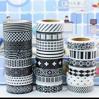 5pcs BLACK &WHITE Paper Washi Tape Masking Tape AdhesiveRoll Decorative Tape