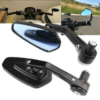 """Black Motorcycle 7/8"""" 22mm Aluminum  Handle Bar End Rearview Side Mirrors CNC"""