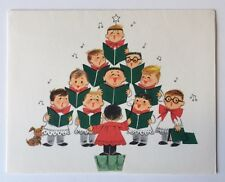 Unused HALLMARK Vintage Christmas Card Cute Sing Choir Boy Conductor Puppy Dog