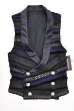 NWT $3990 Balmain Paris Men's Silk Tuxedo Colorful DB Waistcoat Vest Sz 44/34 US