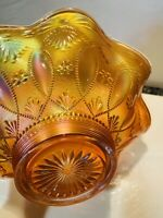 Scarce NORTHWOOD Beads & Fan Marigold Ruffled Edge Carnival Glass Bowl