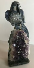 Carved Parrot Sculpture From Brasil Sodalite Perched on Amethyst Gemstone