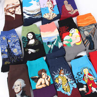 1Pair Happy Sock Men Funny Art Dress Socks Color Lot Fashion Print Van Gogh Art