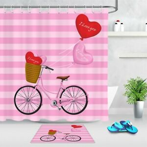 """Pink Bicycle Heart Balloons Stripes Fabric Shower Curtain Set Bathroom Decor 72"""""""