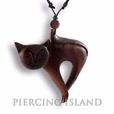 Halskette Katze Anhänger Kette Holz Design Schmuck N160