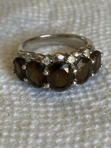 Smoky Brown Quartz Sterling Silver Ring Size 8