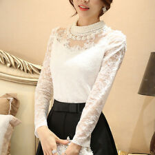Women Lace Blouse Pierced Long Sleeve Pullover Slim Tops Shirt