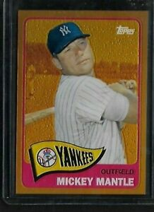 2012 Topps Chrome Factory Set MICKEY MANTLE 1965 Gold Refractor #350 Yankees