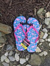 Women's Flamingo Flip Flops Blue With Flamingo Print Slippers Thongs M 7/8