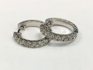 14K White Gold Natural Round Diamond Huggie Earrings 2/3 Inch Hoops 0.80 Ct