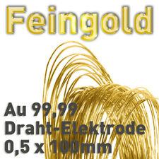 Gold Au 99,99% Draht-Anode ⌀0,5mm x 100 mm Galvanik Feingold Elektrode 24K 10cm