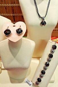 Brighton Venus Burgunday Necklace, Bracelet & Earrings, Red - Silver NWT