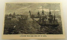 1879 magazine engraving ~ A BOAT IN THE SPANISH WINE PORT ~ city of Cadiz, Spain