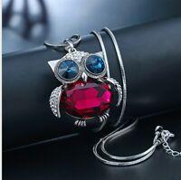Halskette mit Eule Anhänger Silber Klassik Schmuck Damen Frau Collier lang 75cm