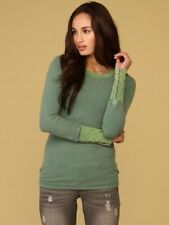 Free People Green Stud Cuff Thermal Shirt Top S Rare
