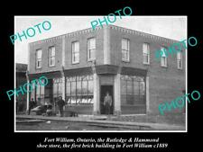 OLD LARGE HISTORIC PHOTO OF FORT WILLIAM CANADA, THE 1st BRICK BUILDING c1889