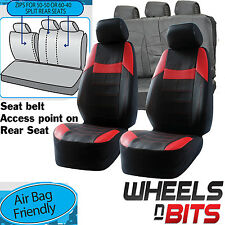 Ford KA Focus Kuga UNIVERSAL BLACK & RED PVC Leather Look Car Seat Covers