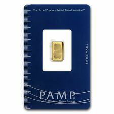 1gram 24ct Solid Gold 999.9 Fine Bullion Bar, PAMP Suisse