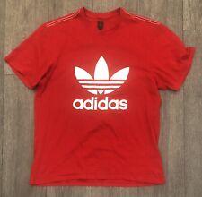 Vintage Retro Adidas Originals Rojo Trébol Logo T-shirt Tamaño L