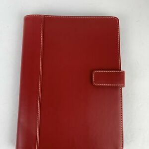 """FRANKLIN COVEY Red Faux Leather Notepad Folio Cover 9.5x7""""- Folio Pad 5.5 x 8.5"""""""