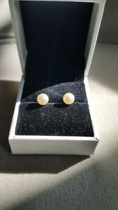 14KT Yellow Gold Blue Lagoon Mikimoto Pearl stud earrings  6mm