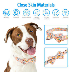 Flower Dog Collars with Bow Tie, Cute Floral Pattern Adjustable Dog Collar 2Size