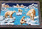 "Beautiful Large Wall Hanging Tapestry Rug Polar Bear Large Vintage 52"" x 36"""