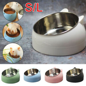Pet Dog Cat Feeder Bowl Food Drink Water Dish Stainless Steel 15 Degree Tilted~