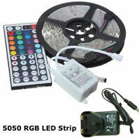 1M 2M 3M 4M 5M QUALITY RGB LED LIGHT STRIP ROPE KIT 5050 MULTI COLOUR UK PLUG