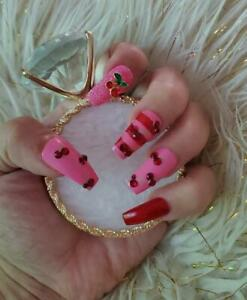 NEW HANDPAINTED CHERRIES JUBILEE NAIL TIPS PRESS ON SET FREE SHIPPING