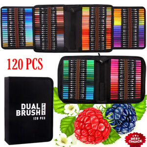 120 Colors Art Pens Set, Fine Tip & Flexible Brush Pen Tip, Water Based Markers