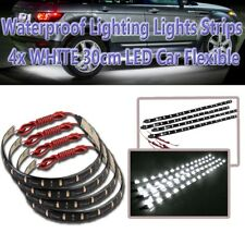 Zone Tech 4x 30CM 15 LED 12V Car Truck Decoration Flexible WHITE LED Strips