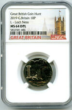 2019 10P GREAT BRITAIN ' L '- LOCH NESS MONSTER NGC MS64 DPL BRITISH COIN HUNT