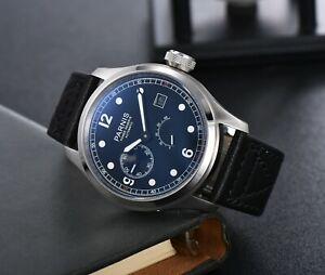 PARNIS 46.5mm Automatic Men Wristwatch Sea-gull 2530 Date Big Face Glass Back